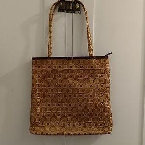MK gold print tote bag